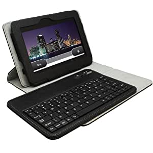 KHOMO ® Black 360 Degree Rotating Stand Case with DETACHABLE Bluetooth Keyboard for Amazon Kindle Fire HD 7'' (2nd Gen 2013-2014)