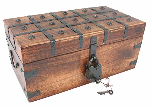 WellPackBox Wood Treasure Chest Trunk Decorative Box Antique Style Lock And Skeleton Key (14x8x6)