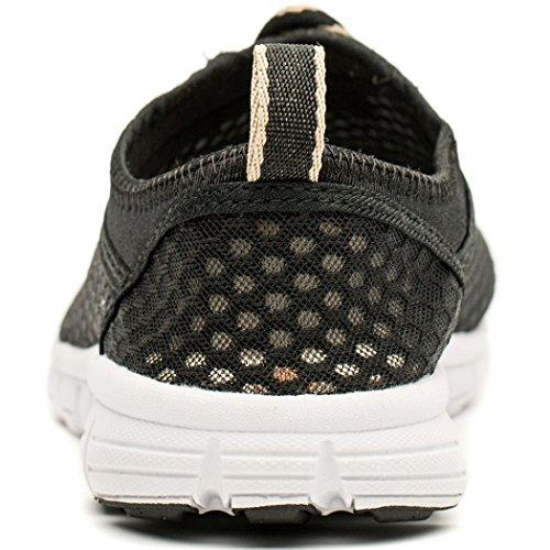 Cerf Mens Chaussures Deau Plage Aqua Sport Respirant Maille Mocassins Léger Noir