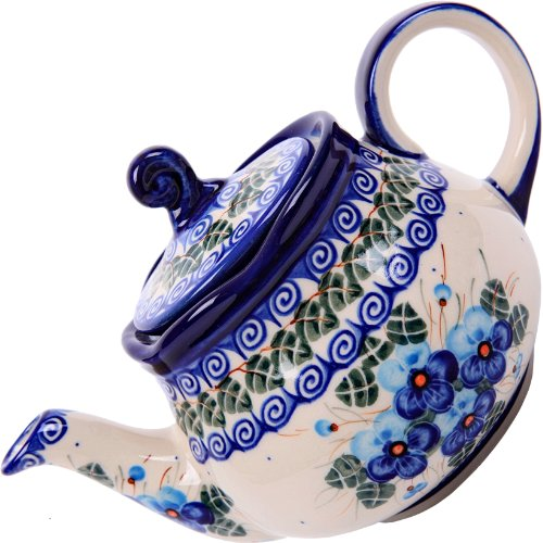 Polish Pottery Ceramika Boleslawiec,  0105/162, Teapot Fruti, 3 1/4 Cups, Royal Blue Patterns with Blue Pansy Flower Motif