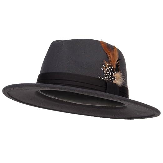 4fea7fb11d63b Poly Faux Felt Feather Panama Hat - Grey OSFM at Amazon Men s Clothing  store