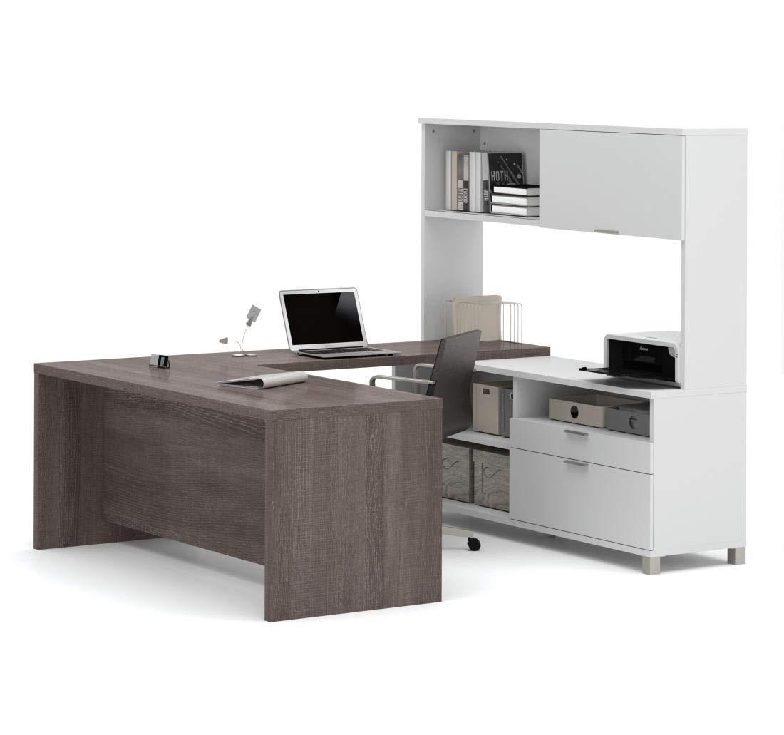 Bestar Pro-Linea U-Desk with Hutch, White/Bark Grey