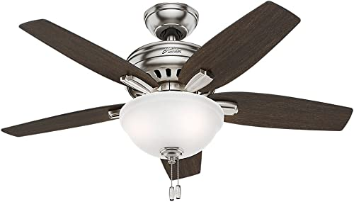 Hunter Newsome Indoor Ceiling Fan with LED Light and Pull Chain Control, 42 , Brushed Nickel