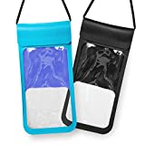 Waterproof Phone Case, DesertWest New Type PVC Waterproof Pouch Universal for iPhone X/8/7P/7/6s, Galaxy S6/7/8, Other Smartphone, 2 Pack, Black/Blue.
