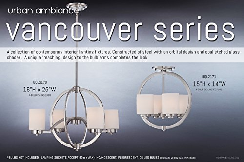 Luxury Contemporary Semi-Flush Ceiling Light, Medium Size: 15''H x 14''W, with Traditional Style Elements, Globe Design, Pretty Brushed Nickel Finish and Opal Etched Glass, UQL2171 by Urban Ambiance by Urban Ambiance (Image #6)