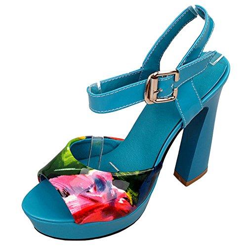 Femmes Blue Sandales Toe Peep JOJONUNU Floral RqHBBw