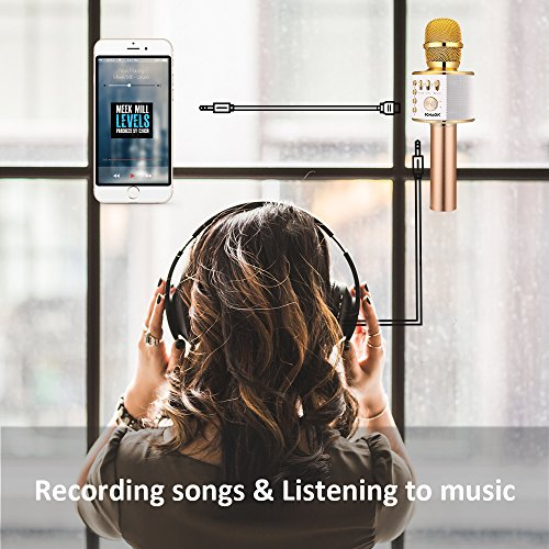 BONAOK Wireless Bluetooth Karaoke Microphone,3-in-1 Portable Handheld karaoke Mic Home Party birthday Speaker Machine for iPhone/Android/iPad/Sony,PC and All Smartphone(Gold)