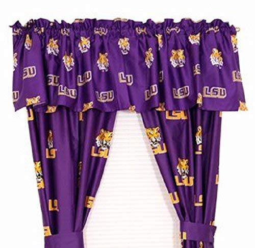 LSU Tigers - (1) Printed Curtain Valance/Drape Set (Drape Length 63 Inches) to Decorate One Window - NCAA College Licensed Window Treatment