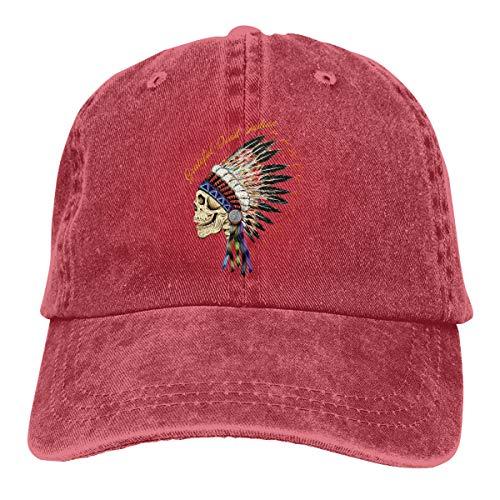 DADAJINN Grateful Dead Indian Adjustable Trucker Cotton Washed Denim Caps Hats Red -