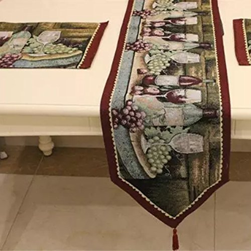 Grape Tapestry (Queenie® - Set of 1 Tapestry Table Runner and 4 Placemats (Grapes & Wine))