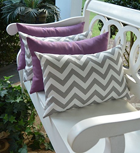 Set of 4 Indoor Outdoor Decorative Lumbar Rectangle Pillows – 2 Lilac Lavender Purple and 2 Gray Grey Chevron