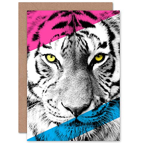 Wee Blue Coo Contemporary Bold CMYK Tiger Greeting Card with Envelope Inside Premium Quality