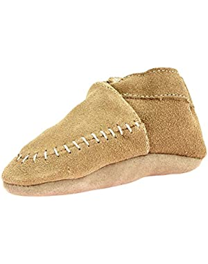 Unisex Boy or Girl Beige Suede Moccasin Crib Shoes with Sherpa Lining