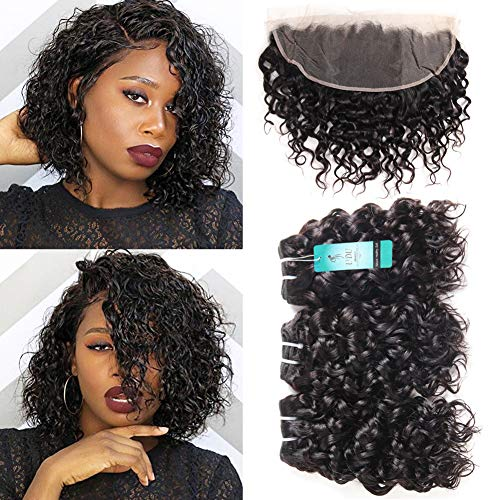 Water Wave Bundles with Frontal, UDU Malaysian Human Hair Bundles Deals Wet & Wavy Ocean Weave Human Hair Extensions Natural Wave Curly 50g/pc