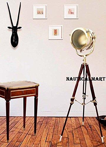 Nautical Designer Hollywood Chrome Finish Wooden Tripod Floor Lamp Search Light Home Decor BY NAUTICALMART