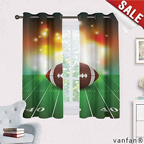Big datastore Sports Decor Curtains for Living Room,American Football Ball with Golden Properties On Grass Turf Field Team Art Graphic for Living Room Dining Room,Brown and Green W55 x L63