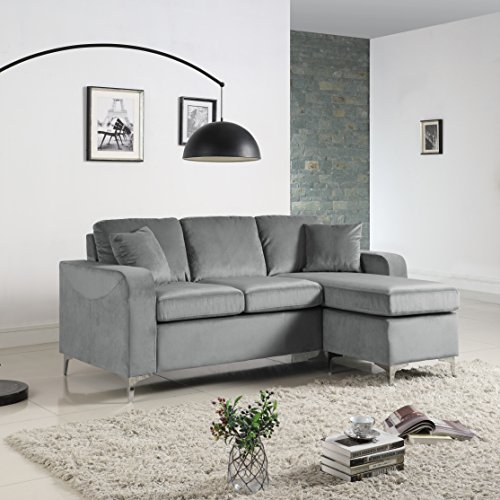 Modern Soft Brush Microfiber Sectional Sofa - Small Space Configurable Couch (Grey) (Sectional Sofas Small)