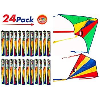 Image of Kites 2CHILL Delta Kite Nylon Large in Bulk (Pack of 24) Plus 1 Bouncy Ball - Easy to Assemble, Launch, Fly - Premium Quality 9877-24p