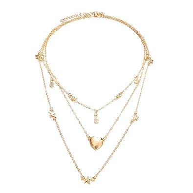 94124214191d Amazon.com  Fashion Multi-layer Heart Stars Pendant Rhinestone Women Jewelry  Charm Necklace  Jewelry