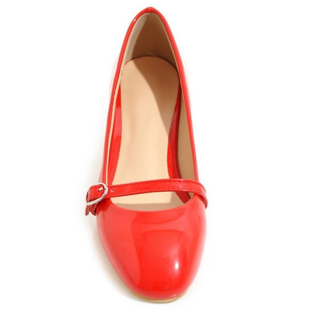 TAOFFEN Women Comfort Solid Flat Ballet Shoes Shallow Mary Janes Pumps