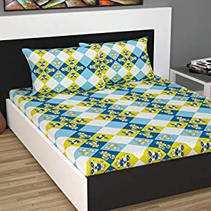 Divine Casa 100% Cotton 144 TC Floral Double Bedsheet Cotton with 2 Pillow Covers – D Green