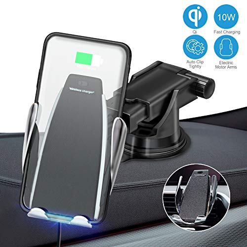 (JeeYu Wireless Car Charger Mount, Automatic Clamping Qi 10W 7.5W Fast Charging & 5W Car Mount, Windshield Dashboard Air Vent Phone Holder Compatible with iPhone Xs Max XR 8, Samsung S10 S9 S8 Note 9)
