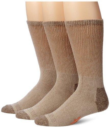 Dockers Men's 3-Pack Non-Binding Cushion Comfort Crew Sock, Khaki, Shoe Size: 6-12 Size: 10-13