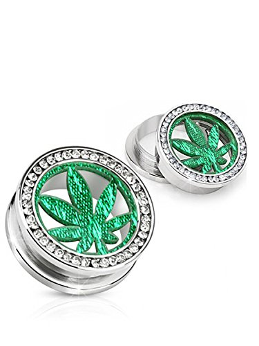 Green Marijuana Leaf Screw On Tunnel Plug - marijuana fashion jewelry