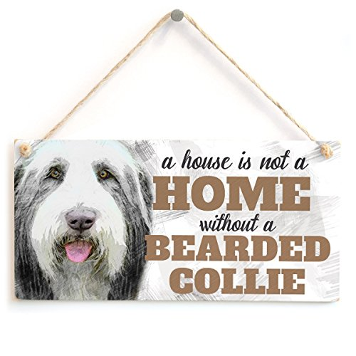 Meijiafei A House is Not A Home Without A Bearded Collie - Cute Bearded Collie Dog Sign/Plaque for Bearded Collie Gifts 10