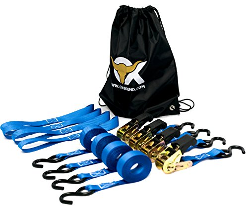 Ratchet Strap Tie Down Set (4 pack) + 4 Free Webbing Loops & Drawstring Bag | The 15 ft Blue OxStrap by OxBound