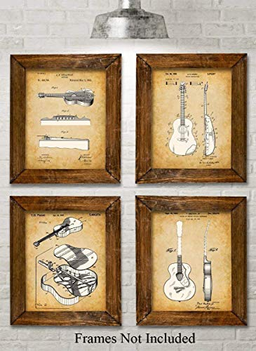 Original Acoustic Guitars Patent Art Prints - Set of Four Photos (8x10) Unframed - Great Gift for Guitar Players