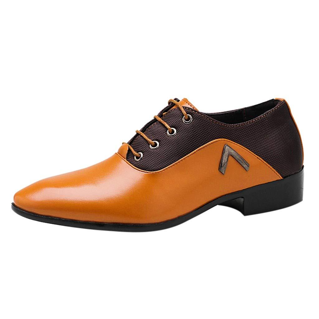 Respctful✿ Men Classic Oxfords Brogue Business Wingtip Shoes Suede Business Dress Shoes for Men Yellow