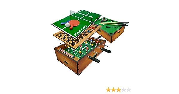 Sport1-6 en 1 - Futbolín Biliardo, Color marrón, 706200411: Amazon ...