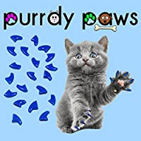 40-Pack Soft Nail Caps for Cat Claws Blue Kitten Purrdy Paws