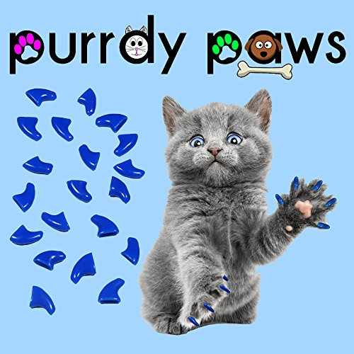 Purrdy Paws 100-Pack Soft Nail Caps For Cat Claws BLUE MEDIUM by Purrdy Paws