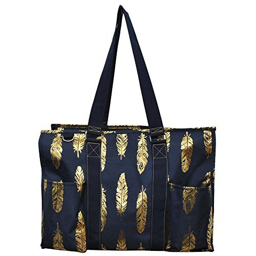 NGIL All Purpose Organizer 18'' Large Utility Tote Bag 2018 Spring Collection (Gold Feather Navy Blue)