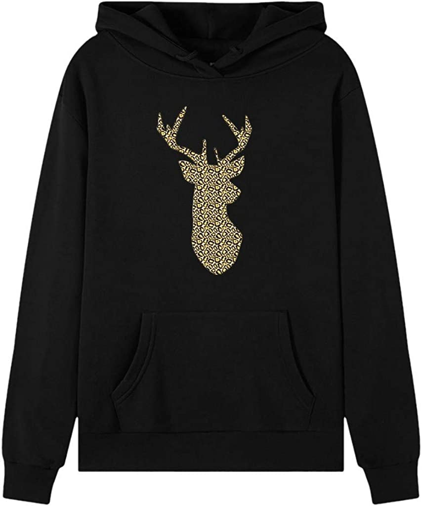 Womens Xmas Hoodies Christmas Elk Print Long Sleeve Hooded Sweatshirt Casual Pullover Tops