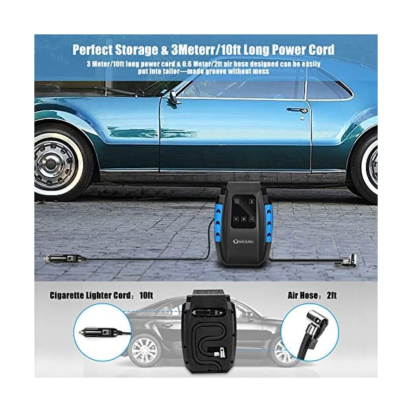 Compressore Portatile per Auto Aria Compressa Pompa Elettrica 150PSI Pressione Gonfiatore Digitale con Luce LED per Gonfiare Le Gomme delle Moto e delle Auto, Palloni, Canotti ECC (Style 1) 4 spesavip