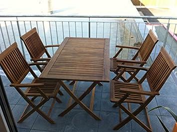 Gartentisch Und Stühle Holz.Nfp 5 Teilige Sitzgruppe 4 Stühle 1 Tisch Gartenmöbel Holz