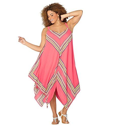 AVENUE Women's Geo Chevron Hanky Hem Dress, 14 Coral