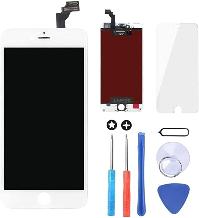Brinonac for White iPhone 6 Plus 5.5 inch Screen Replacement Retian LCD Touch Screen Digitizer Fram Assembly Full Set with Tempered Glass Screen Protector + Tools + Instructions