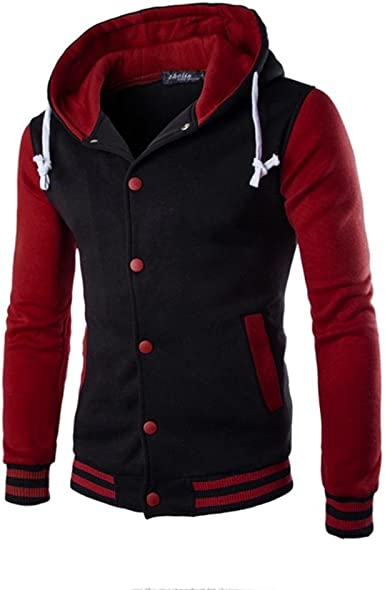 Mens Fashion Winter Warm Hoodies Zip UP Sweatshirt Jacket Patchwork Hooded Coat