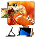 MSD Premium Samsung Galaxy S7 Edge Flip Pu Leather Wallet Case IMAGE 20901827 Scarecrow and pumpkins on colorful autumn background
