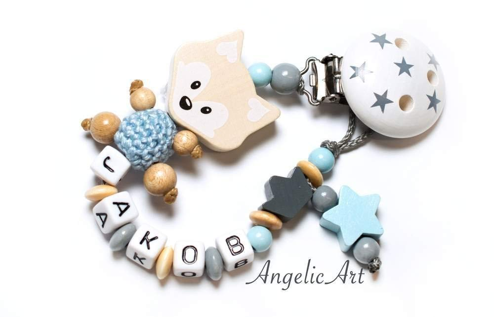 Schnullerkette mit Namen Fuchs Krone Baby Schnullerhalter Junge blau handmade