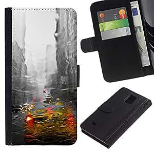 Billetera de Cuero Caso Titular de la tarjeta Carcasa Funda para Samsung Galaxy Note 4 SM-N910 / New York City Cab Rain Buildings Grey / STRONG