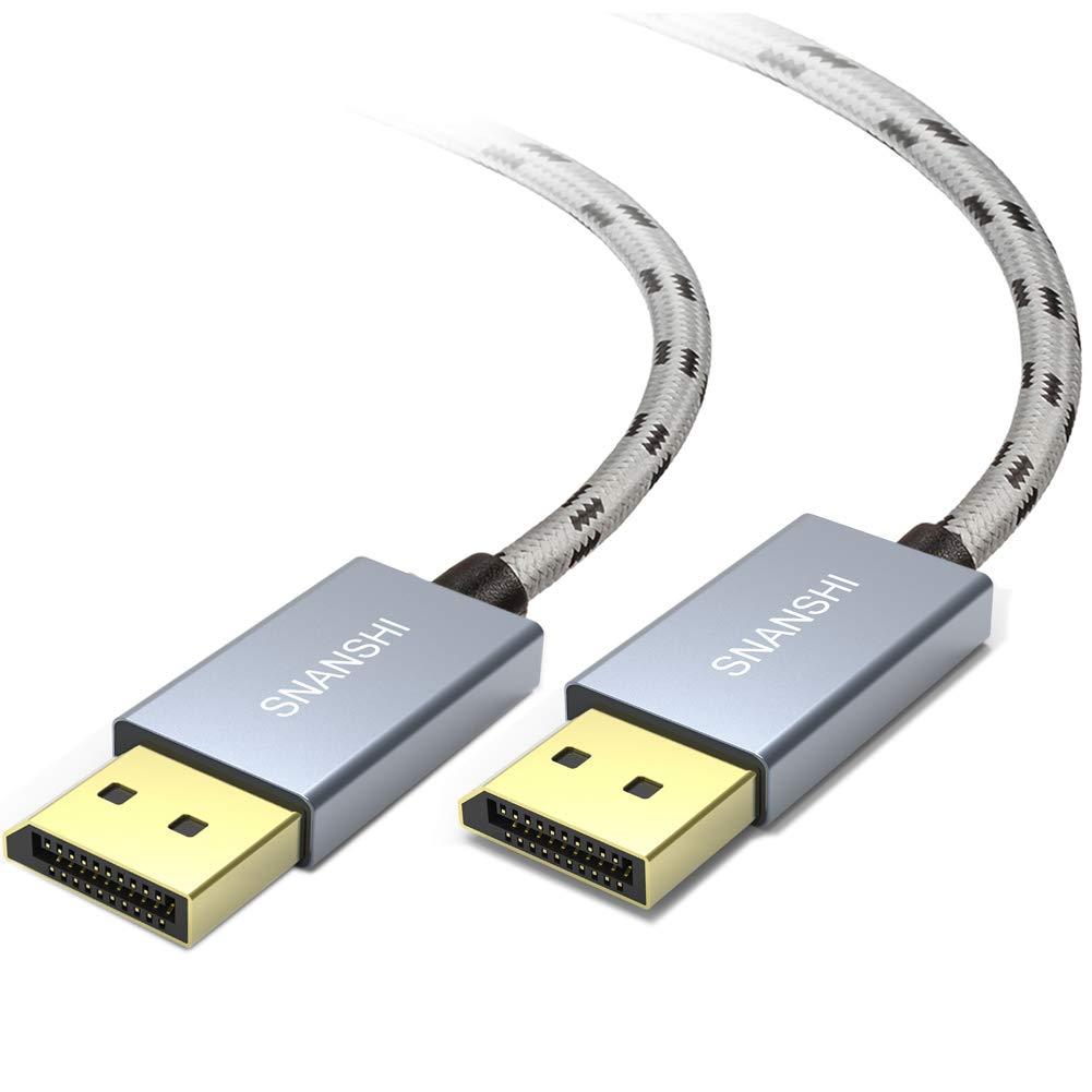 SNANSHI SNDP4K6 DisplayPort Cable 6 ft, 4K DP to DP Cable Nylon Braided -(4K@60Hz, 2K@144Hz) Display Port Cable Ultra High Speed DisplayPort to DisplayPort Cable for Laptop PC TV -Grey by SNANSHI
