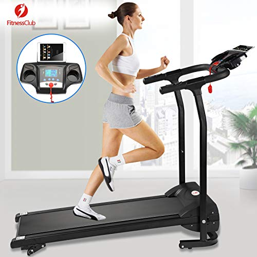 Fitnessclub 2HP Folding Treadmill Electric Motorized Power 12KM/H Running Fitness Machine W/PAD Holder,Hand Grip Pulse Sensor