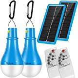 Portable Solar Light Camping Bulb - 2 Pack Flyhoom 220LM Indoor Outdoor Dimmable Light with Remote Controller for Hiking Fishing Outage,Hurricane,Tent,Storage Room(2018 New Design),Blub SLP2