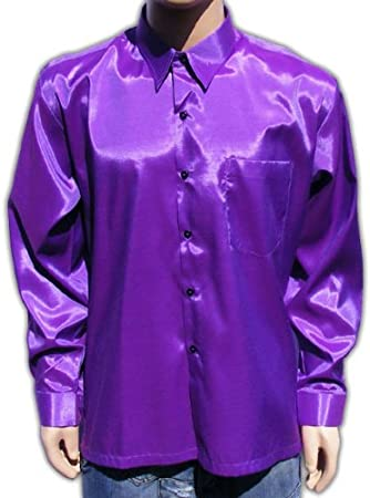 Bestellmich / Hemden (XL) Lila Camisa Señor satén Brillo Business – Camisa para Hombre