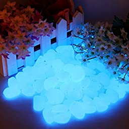 Roto - 100pcs of Decorative Gravel for Your Fantastic Garden or Yard Glow in the Dark Pebbles Stones for Walkway Blue